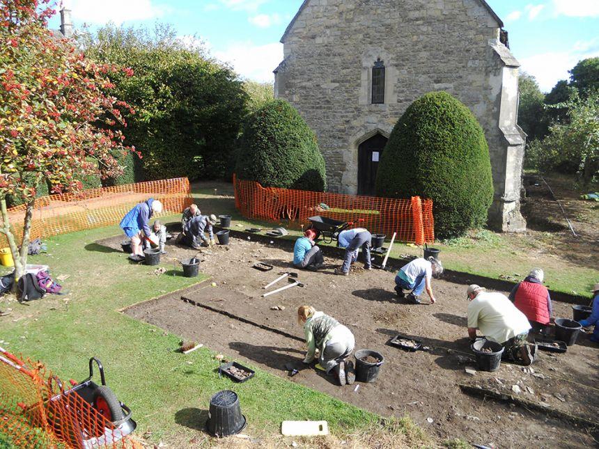 Volunteers excavating the medieval site of Bartlemas Chapel and leper hospital