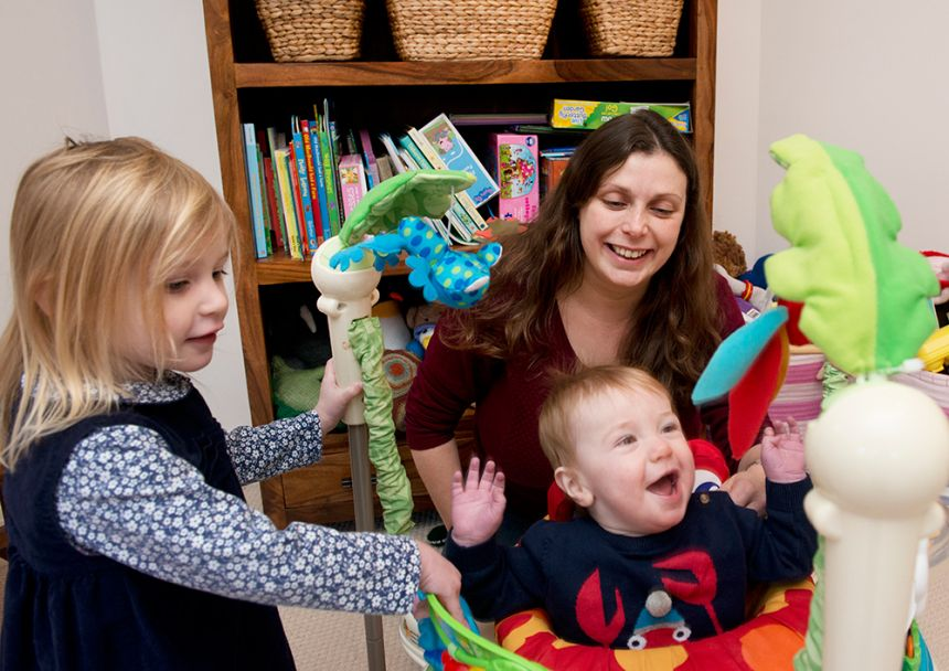Professor Angela Russell, a recipient of the Returning Carers' Fund, with her two young children