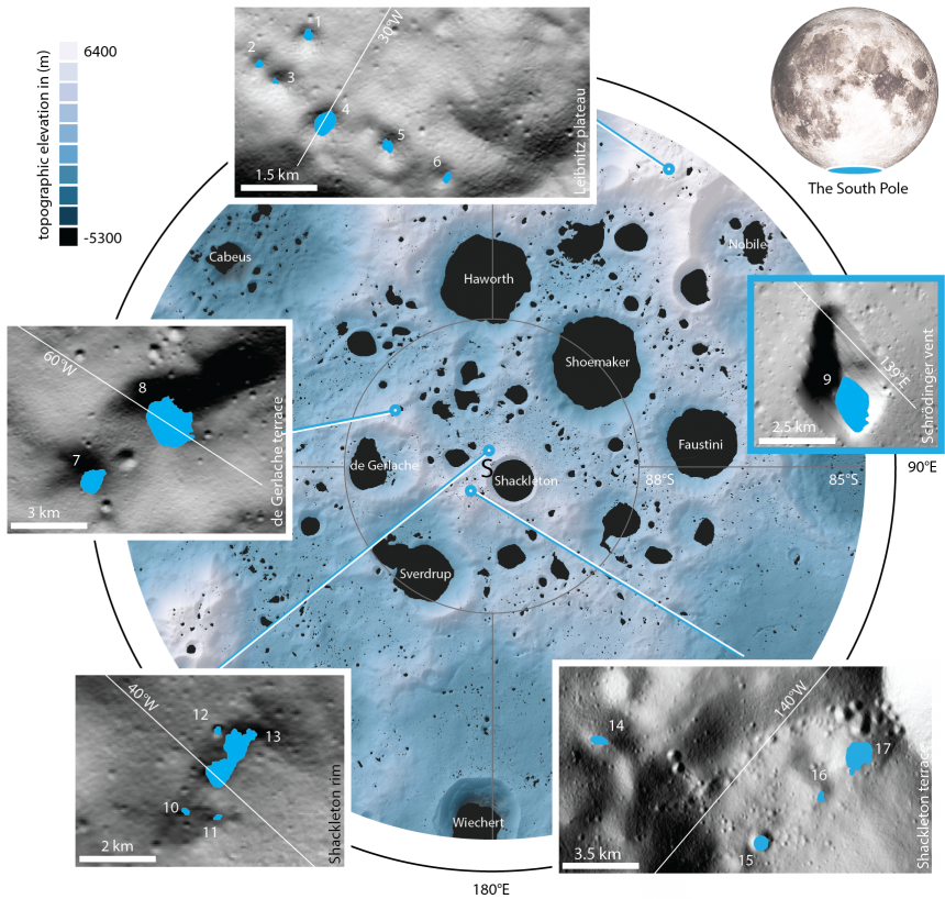 The 17 newly studied craters and depressions