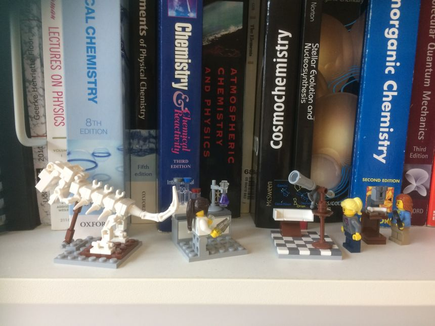 The all-female LEGO Research Institute collection, sits in pride of place on Professor Mather's office bookshelf, as a testament to how far gender bias in science has evolved.   Copy Right: Tamsin Mather