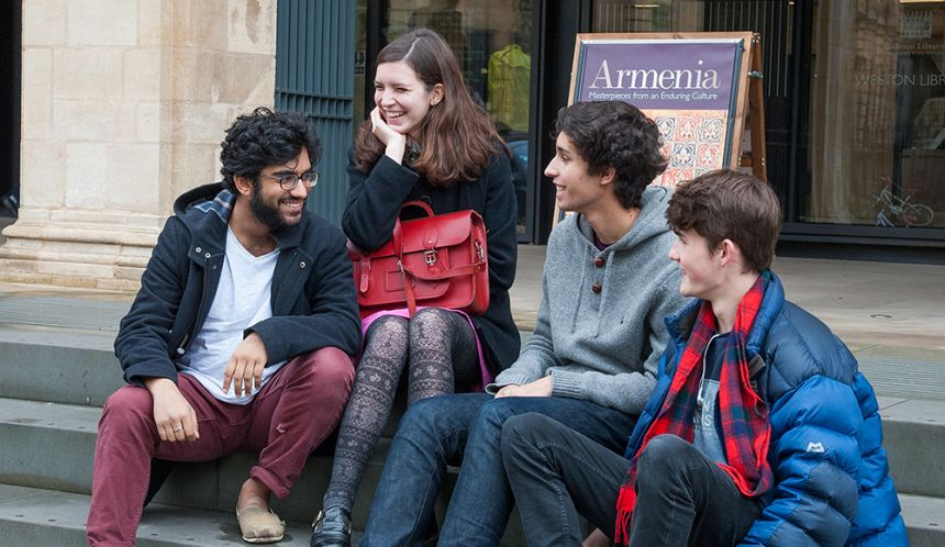 Students outside the Weston