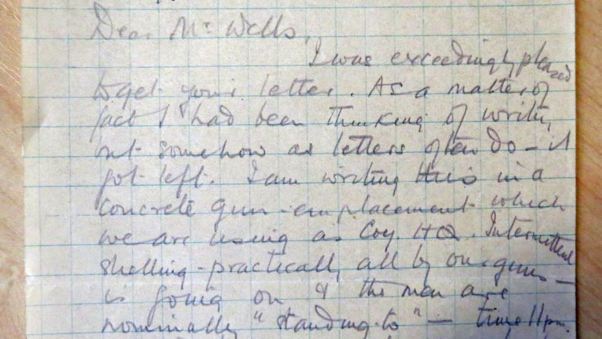 Orde Ward's letter from a gun emplacement, 17/10/17