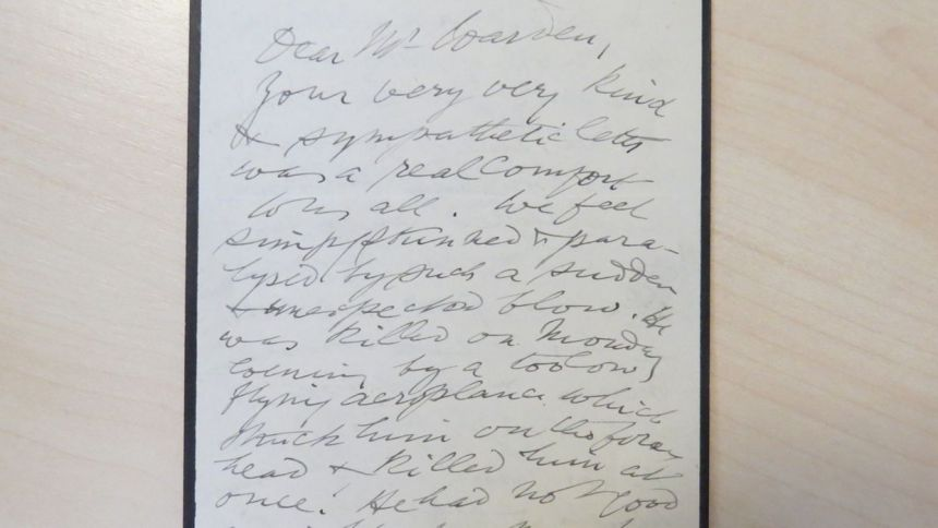 A letter from Orde Ward's father thanking the Warden for his sympathetic letter sent on hearing the news of the death of his son