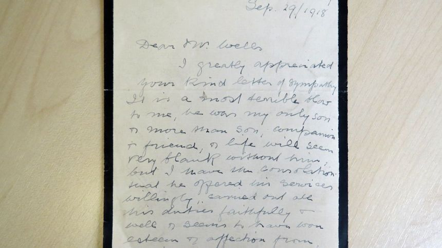 A A Wright's father's Wadham letter, University of Oxford, World War 1