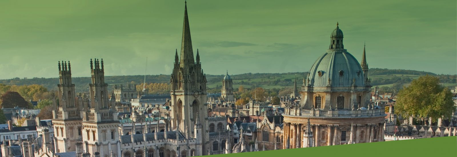 Oxford city skyline including the Radcliffe Camera, University Church spire and All Souls College