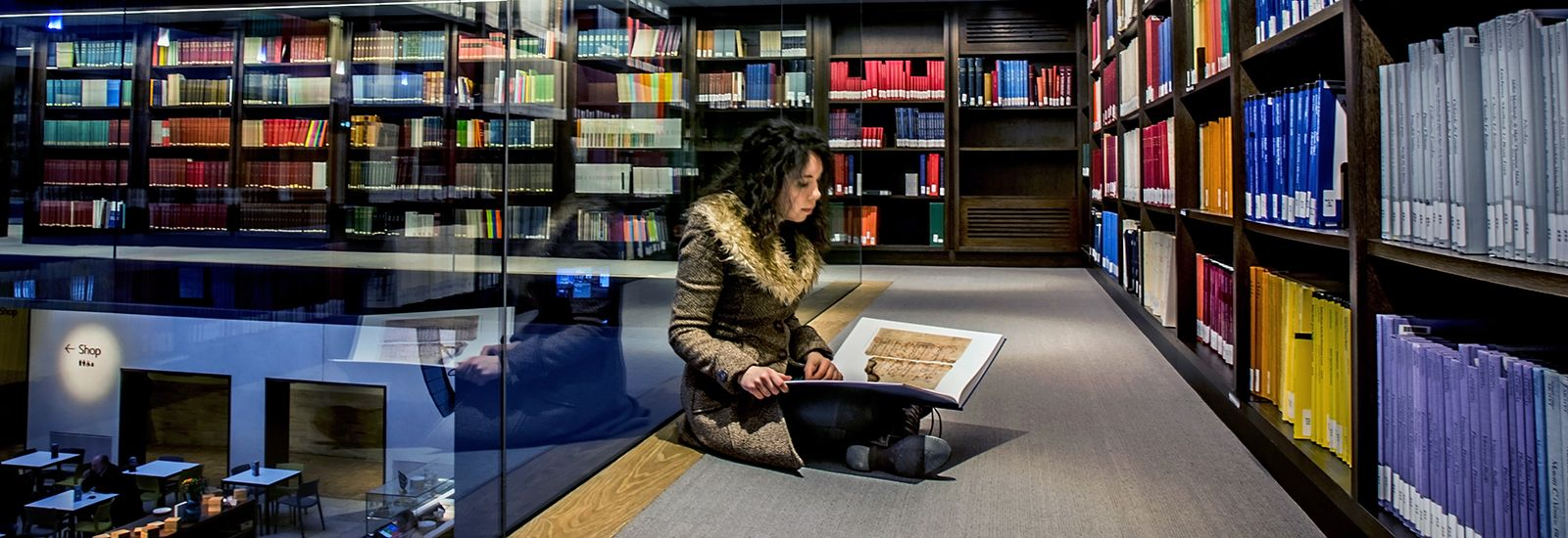 A student in the Weston Library