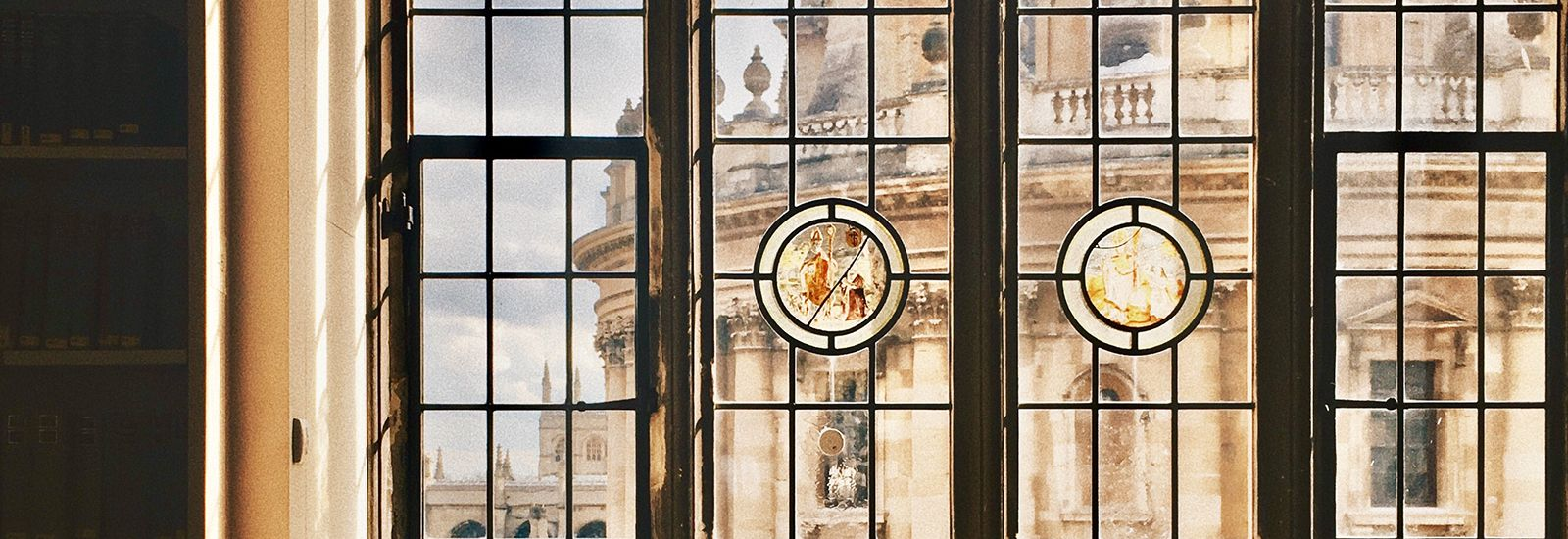 View of the Radcliffe Camera through a window