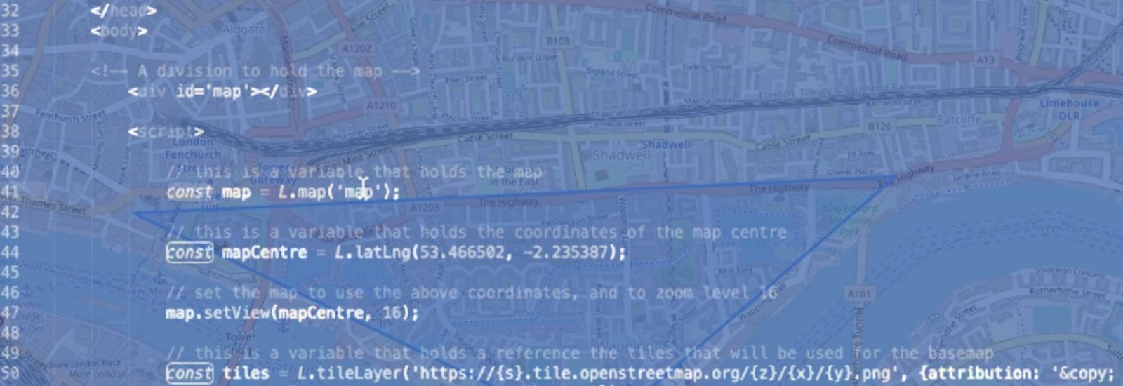A digital map of London overlayed with a blue colour and coding language in white