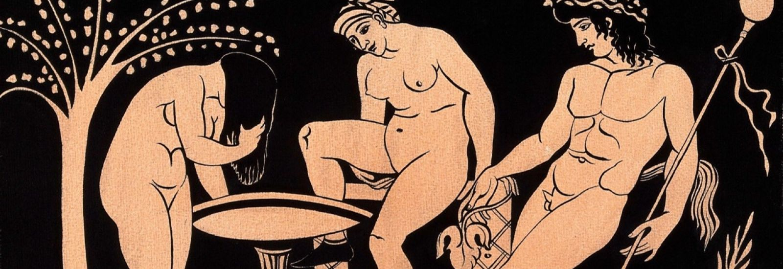 Painting of two women washing next to a satyr in pale gouache on black background