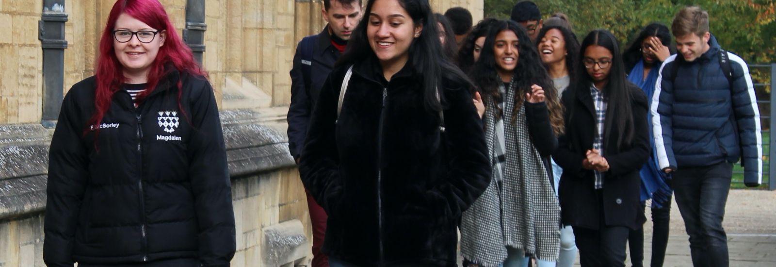 Magdalen student ambassador, Ellie, meeting a group of prospective applicants.