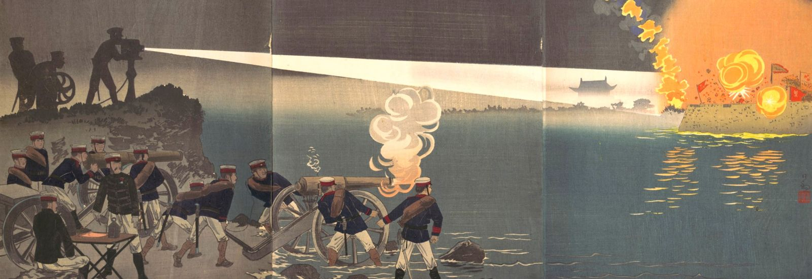 Woodblock print showing and army with a searchlight firing across water to a blazing building.