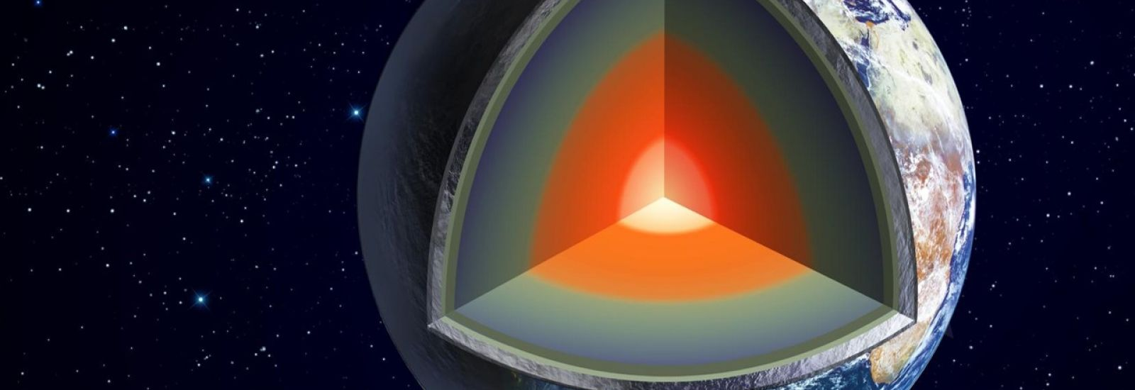 Illustration showing cut-away of the earth with coloured layers and a glowing core