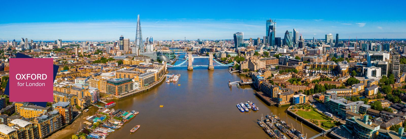 View of the Financial District of London near the Tower Bridge across river Thames, London.