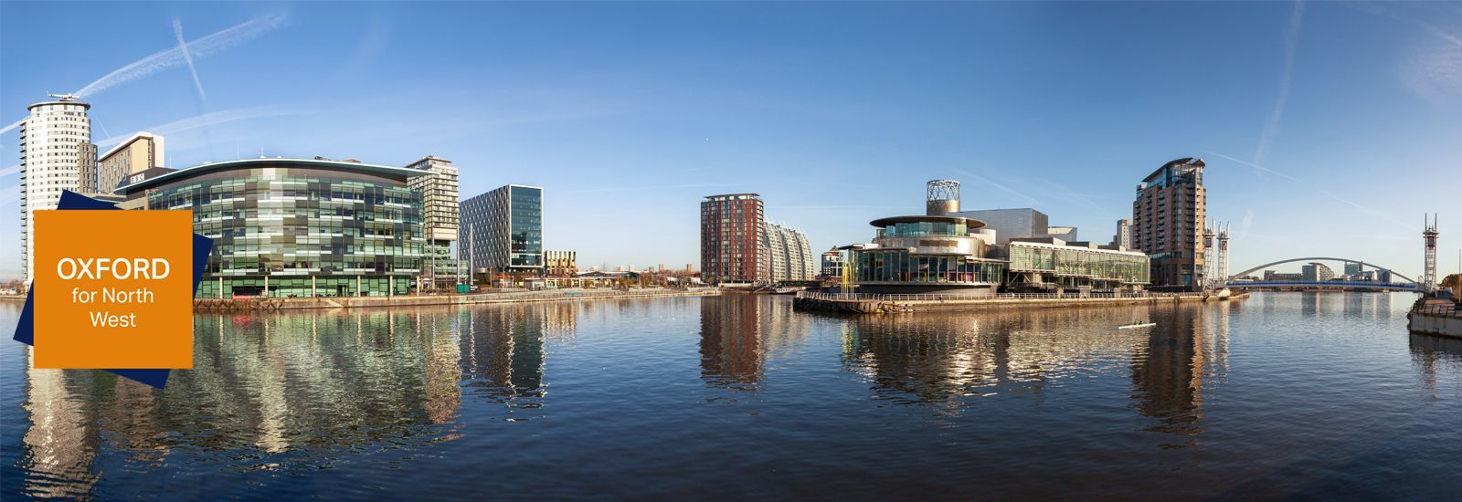 Salford Quays, Manchester, with BBC Manchester, Media City and Lowry theatre.