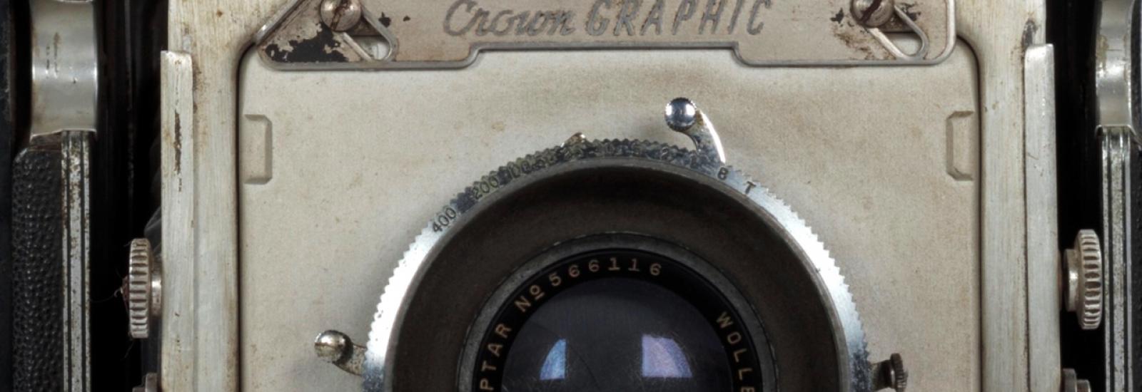 Close up of a vintage camera lens