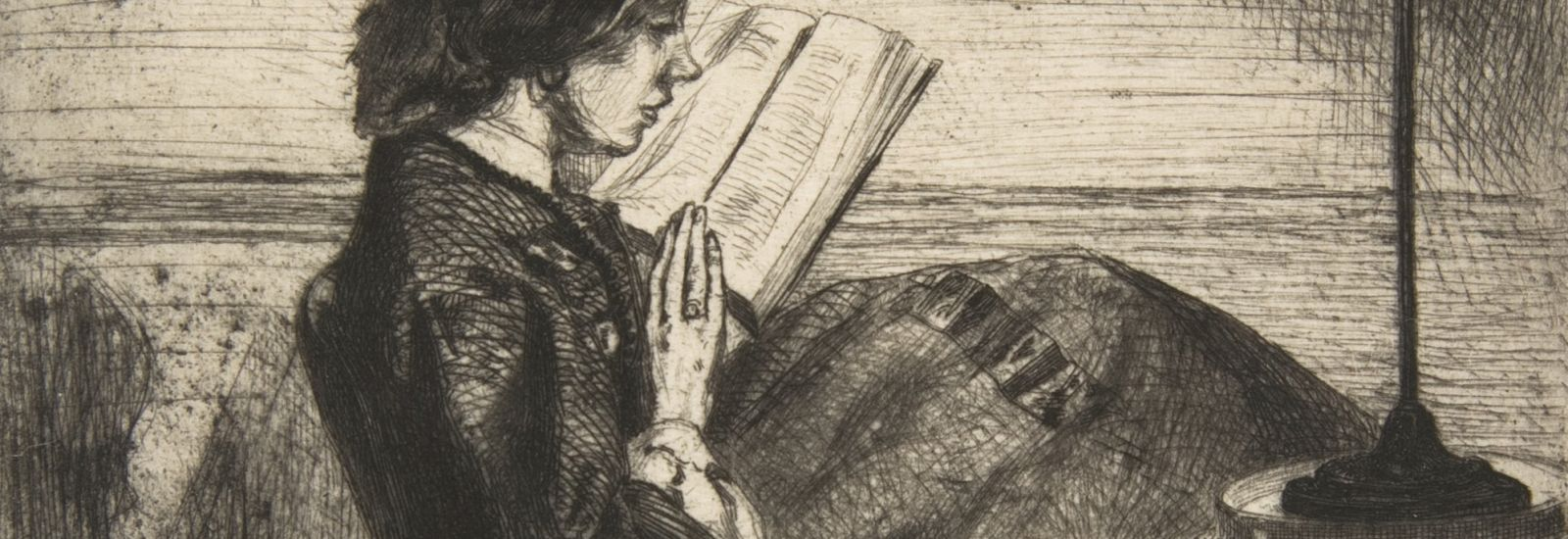 Sepia tone etching of woman reading a book by lamplight