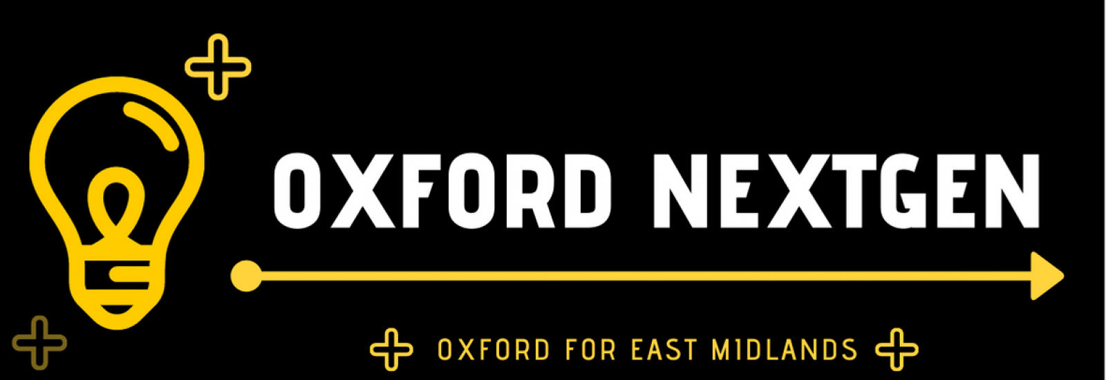A yellow lightbulb line drawing next to Oxford NextGen, Oxford for East Midlands