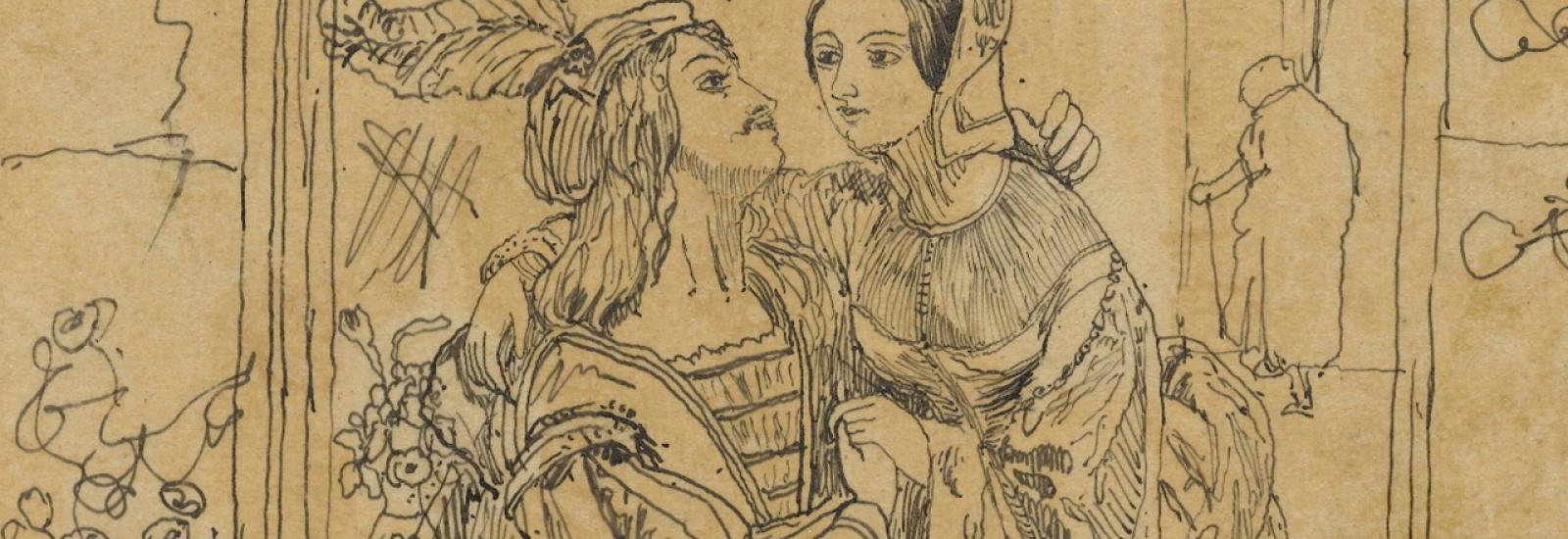 Pen drawing of Juliet sat on Romeo's knee