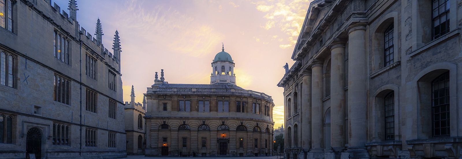 A photo of the Bodleian Library and the Sheldonian Theatre at sunset