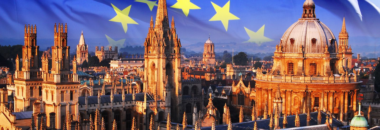 Oxford skyline and EU flag