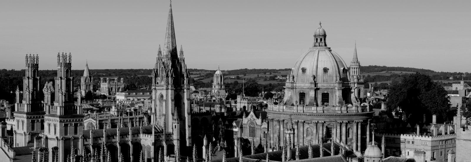 Oxford skyline in black and white