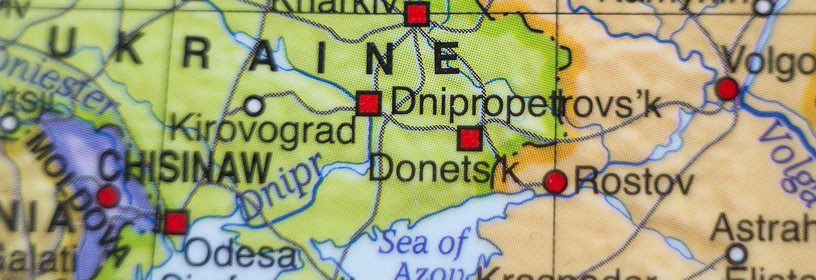 Close up of map of Ukraine