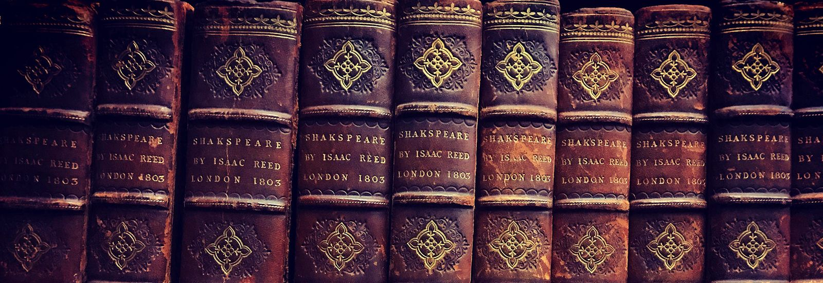 Spines of old books on Shakespeare