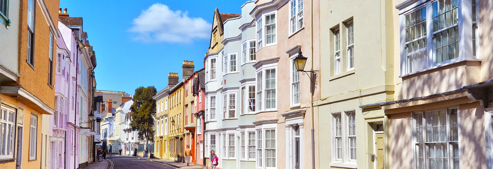 Colourful buildings on Holywell Street