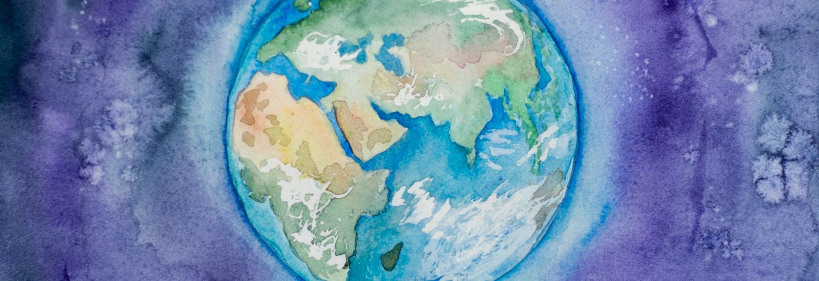 A painted illustration of the globe