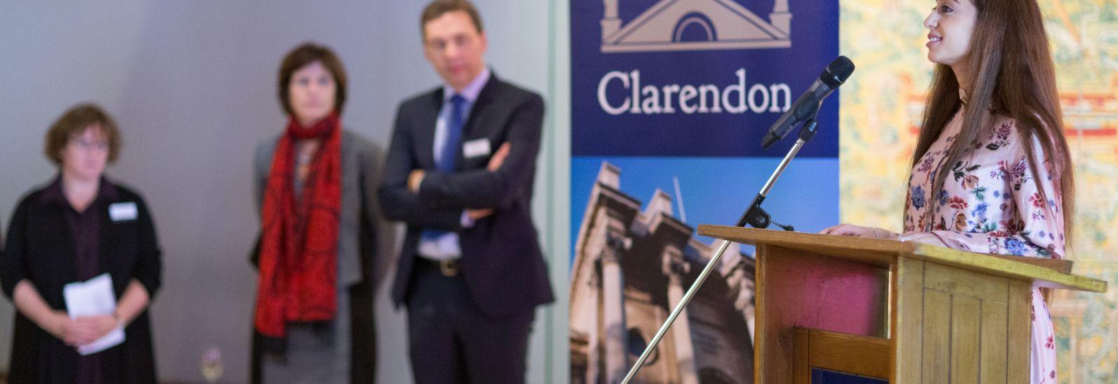 Past Clarendon Scholars' Council addressing the scholars