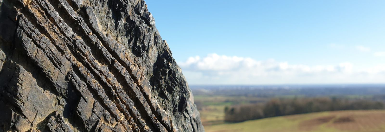 A rock in the foreground, with a backdrop of Charnwood Forest in the East Midlands