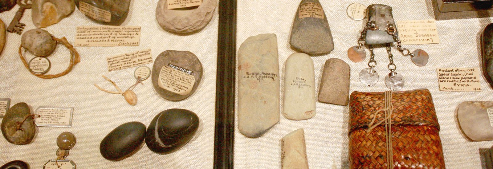 A Pitt Rivers Museum exhibit showing a variety of stone artefacts