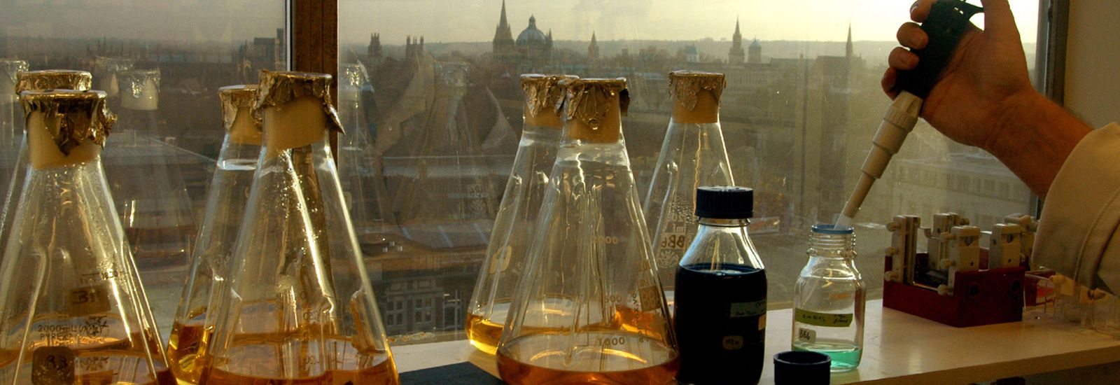 Conical flasks in a Chemistry lab in front of a window overlooking Oxford city centre