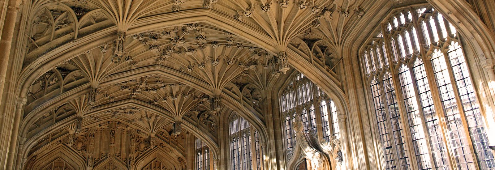 The vaulted ceiling in the Divinity School