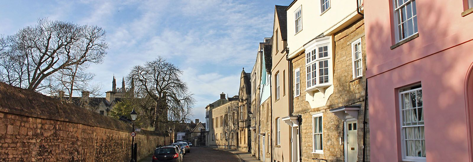 A street in Oxford in winter with a blue sky