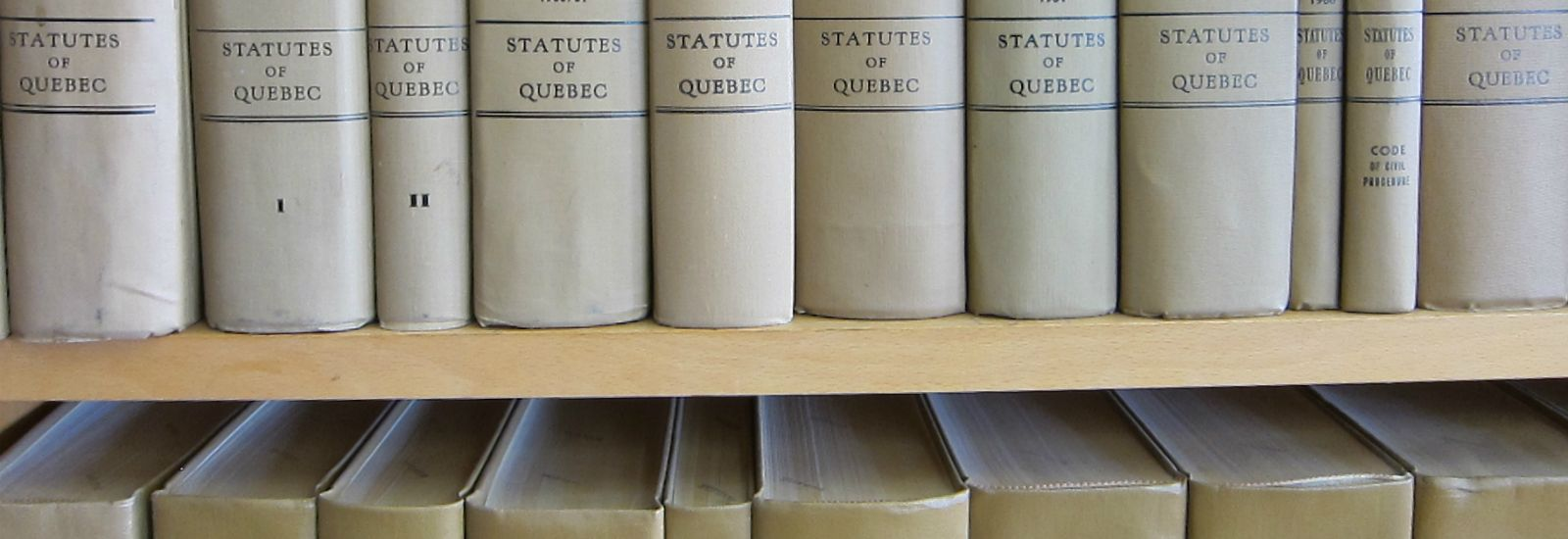 Copies of the 'Statutes of Quebec' on a shelf