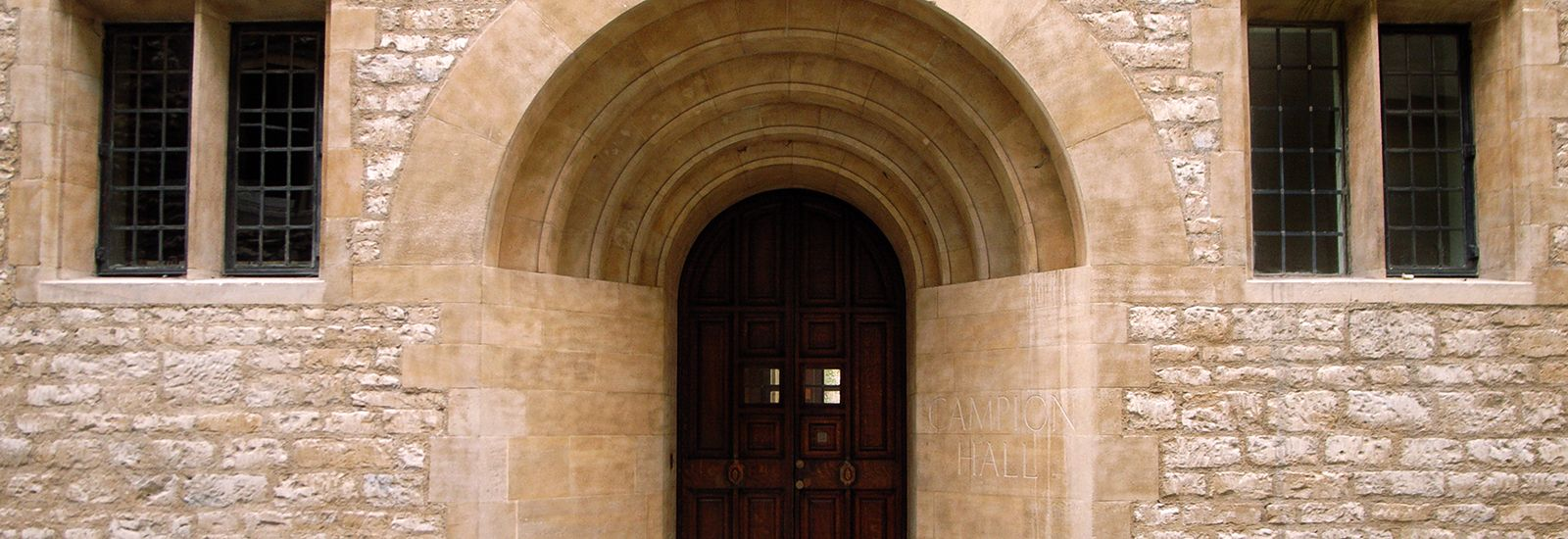 The arched entrance to Campion Hall