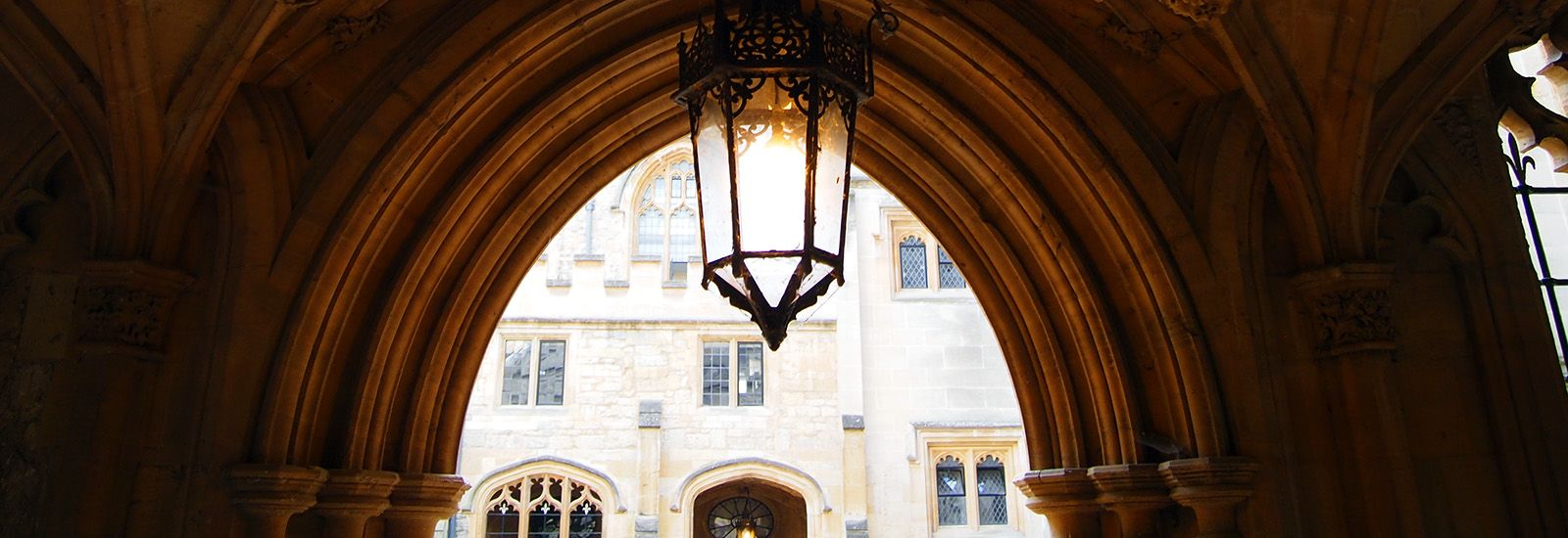A lamp in an archway