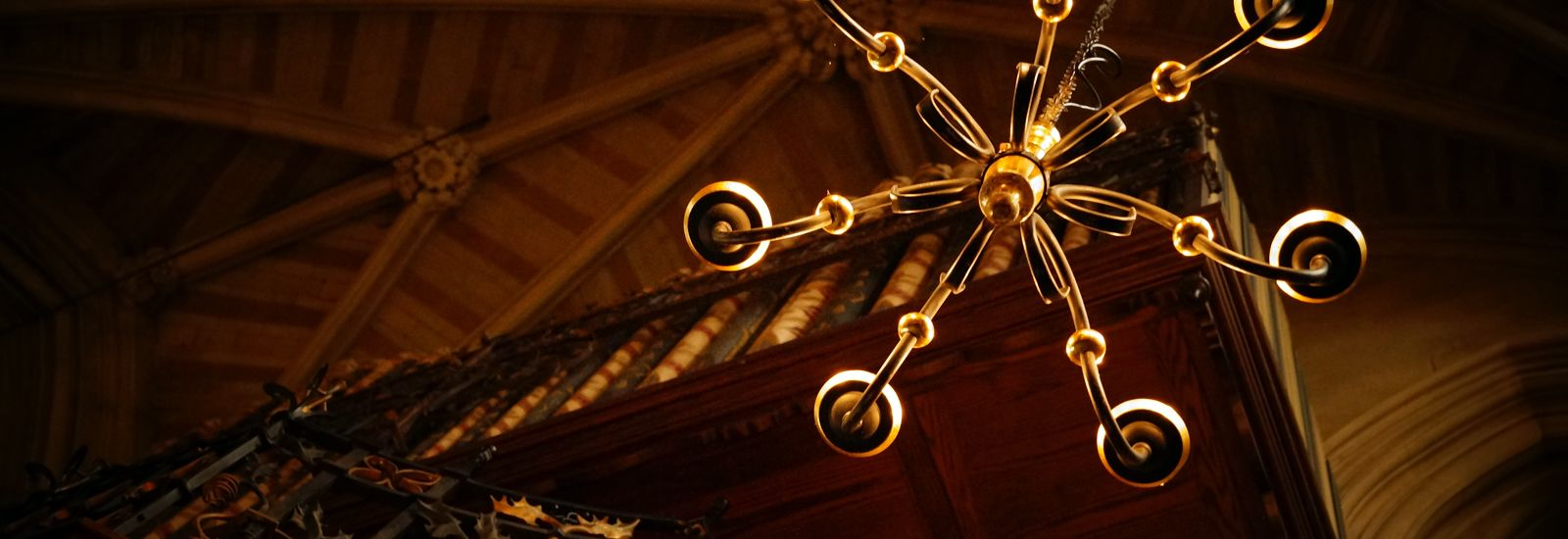 Looking up at a candelabra