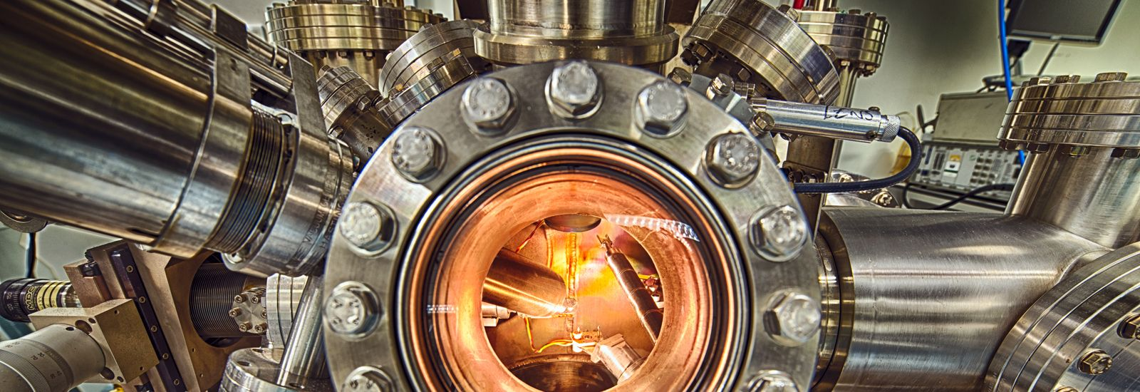 Close up of large metal machinery in a lab