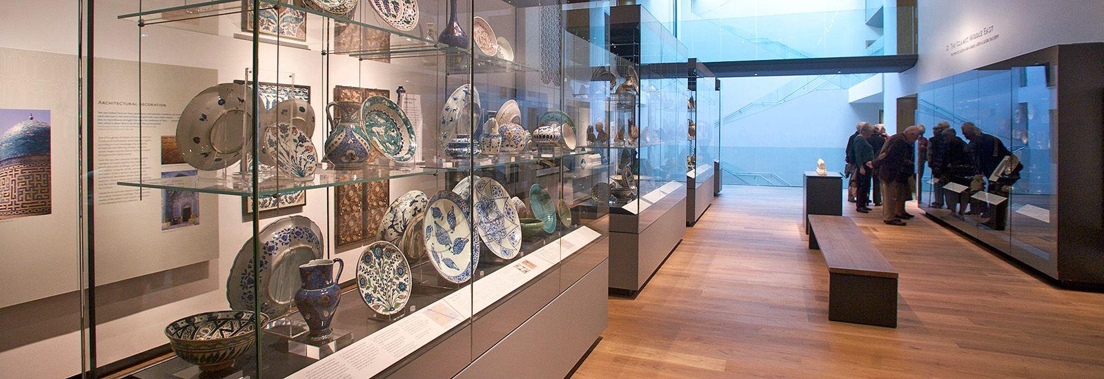 A display of ceramics in the Ashmolean