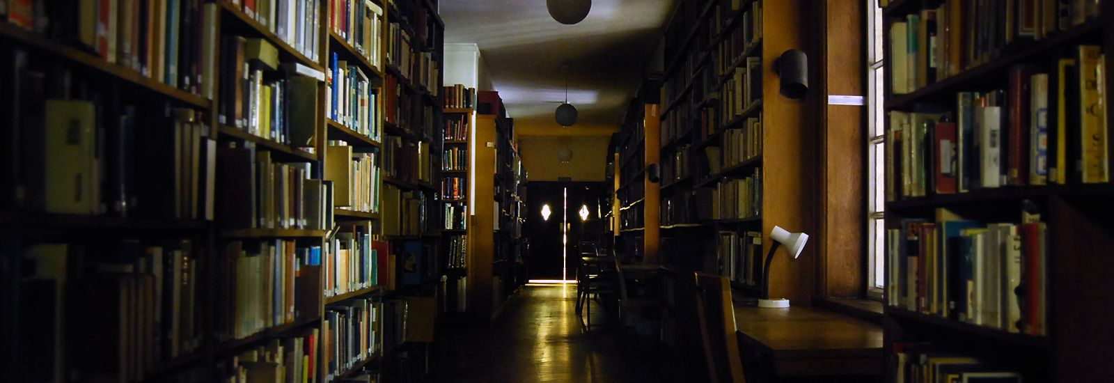 Inside a dark library with sunlight coming through the windows