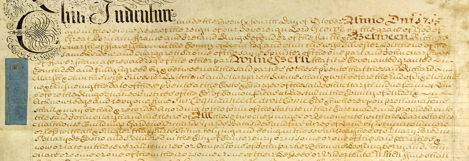 Close up of an old manuscript