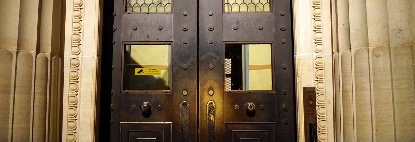 Metal doors of the Sackler Library