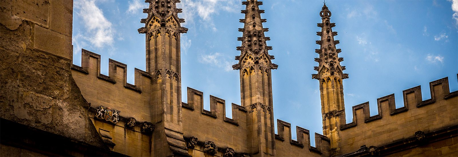 Spires and top of crenelated wall of the Bodleian