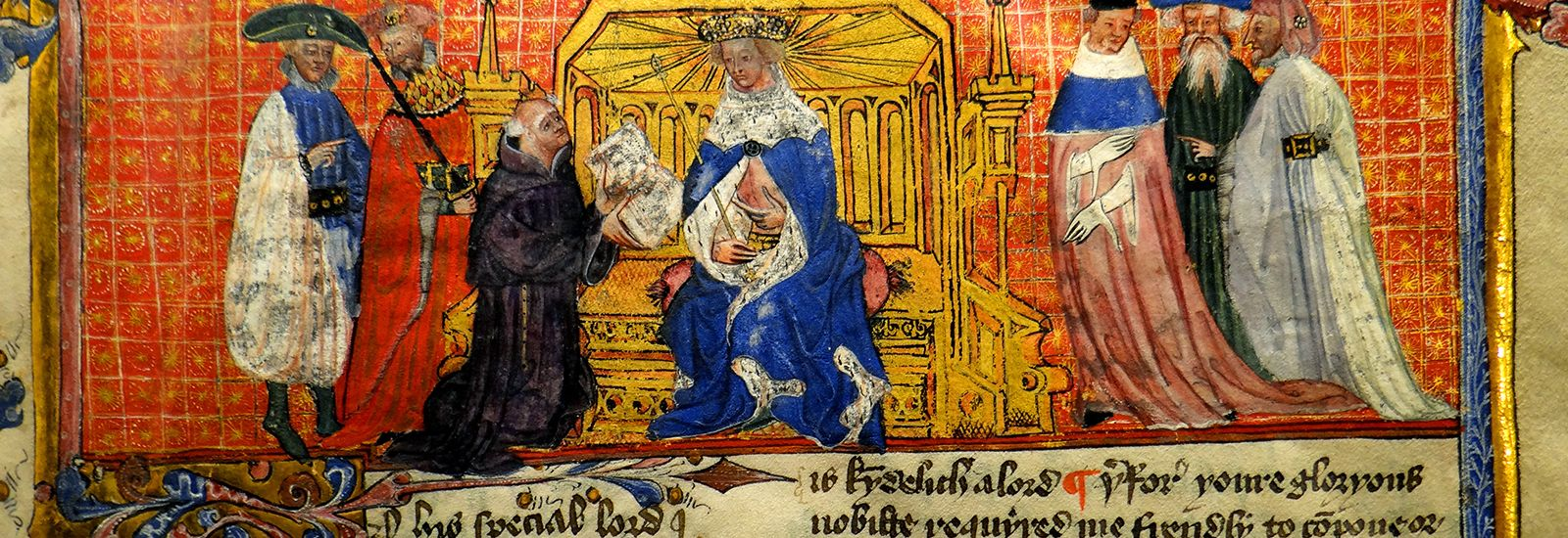 A close up of a painting manuscript showing 6 figures