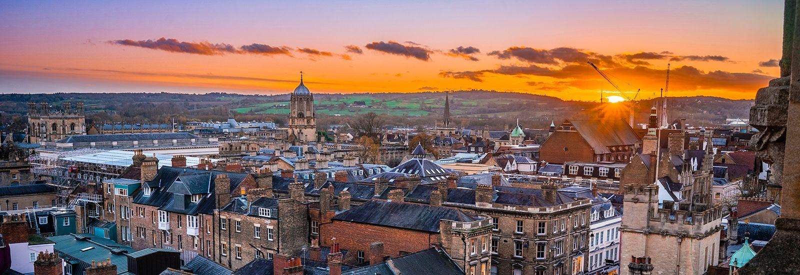 Sunset over Oxford skyline