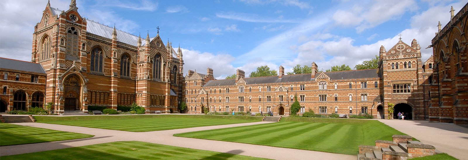 A quad at Keble College with the chapel on the left