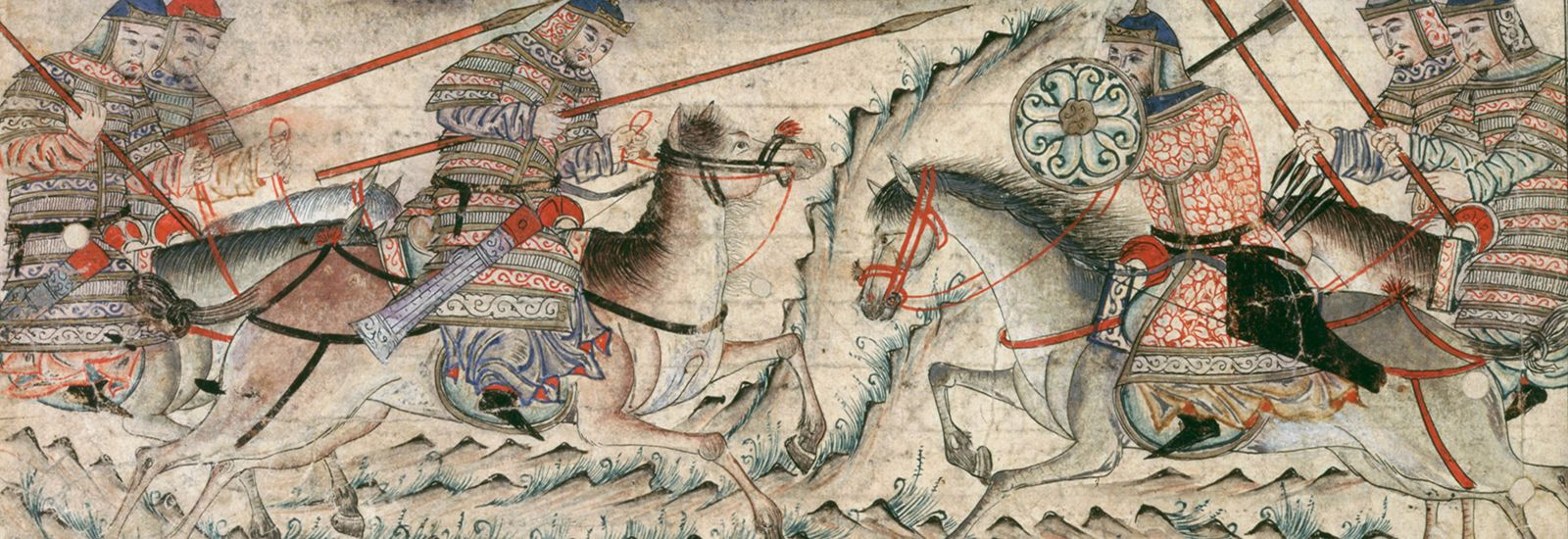 Close up of a drawing of soldiers on horseback