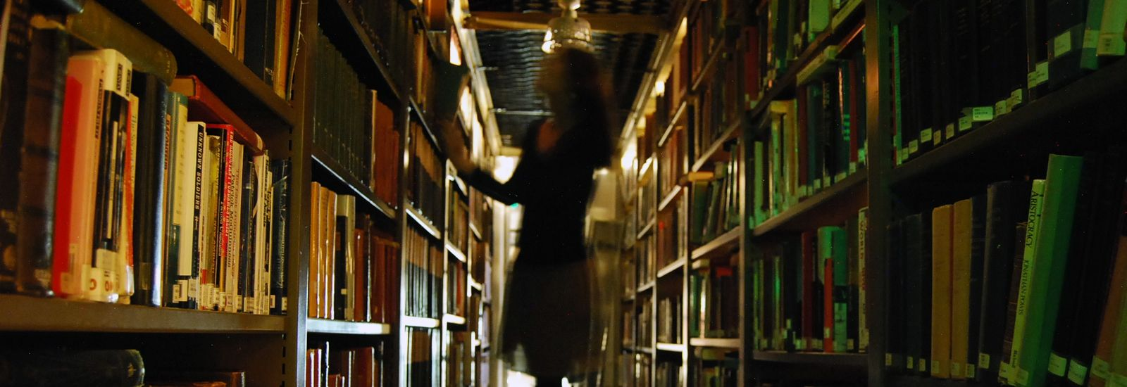 A student standing on a stool in a library